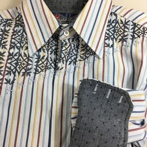 English Laundry M Blue Striped Shirt Flip Cuffs